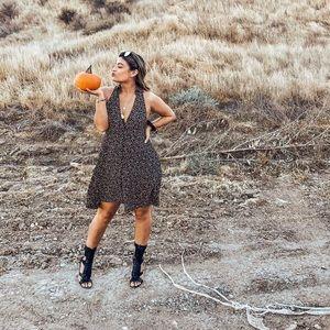 Free People black orange mini poppy halter dress
